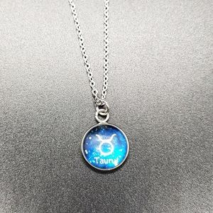 Taurus Zodiac Astrology Circle Necklace